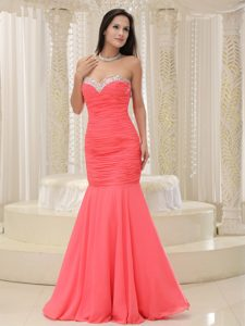 Beautiful Watermelon Mermaid Sweetheart Prom Party Dress Beaded and Ruched
