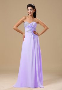 Beading and Decorated Lilac Chiffon Prom Dress for Cheap