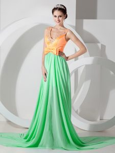 Green and Orange Empire V-neck Chiffon Beaded Prom Dresses with Brush Train