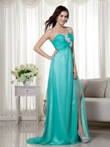 2014 Empire One Shoulder Prom Dress with Brush Train and Appliques Decorated