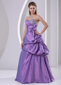 Sweetheart Beaded A-line Purple Prom Dress with Pick-ups and Bowknot on Sale