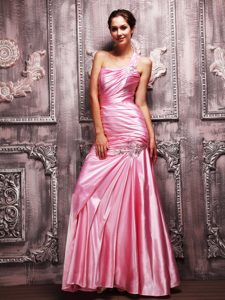 Rose Pink One Shoulder Beaded and Ruched Prom Dress on Sale