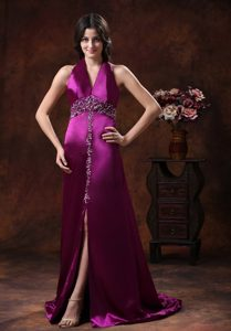 Attractive High Slit Beaded Satin Halter Top Prom Dress with Brush Train on Sale