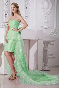 Apple Green Strapless High-low and Organza Beaded Prom Dress
