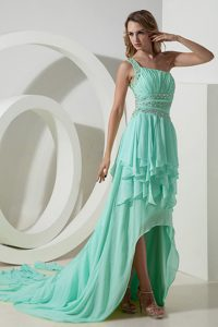 Beautiful Apple Green One Shoulder High-low Beaded Prom Dress with Ruching