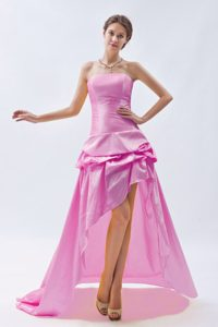 Pink Strapless High-low Prom Homecoming Dress with Pick-ups