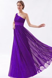 Eggplant Purple Beaded and Ruched Empire One Shoulder Prom Dress for Cheap