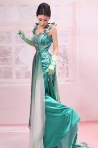 Straps Beaded Chiffon Brush Train Empire Prom Dress