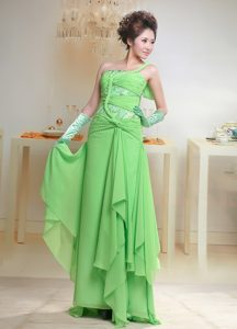 Sweet Spring Green One Shoulder Ruched Chiffon Prom Dress for Party in 2013