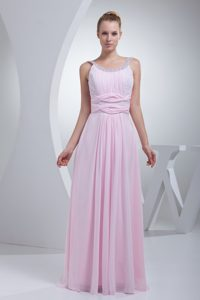 Beaded Scoop Neckline Prom Evening Dress in Baby Pink with Ruching on Sale