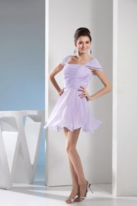 Elegant Lilac Square Mini-length Prom Gown Dress with Ruching and Cap Sleeves