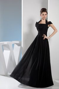 Noble Halter Top Black Prom Homecoming Dress with Ruching for Cheap