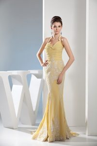 Mermaid Halter Top Yellow Prom Dress with Appliques and Ruching on Promotion