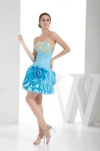 Pretty Aqua Blue Strapless Short Prom Gowns for Cheap