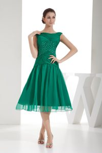 Pretty Green A-line Bateau Beaded and Ruched Prom Gowns with Chiffon in 2013