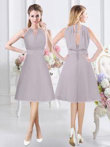Trendy Halter Top Knee Length Grey Bridesmaid Dress Chiffon Sleeveless Lace and Ruching