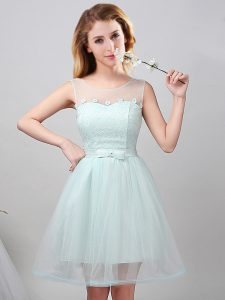 Lovely Scoop Tulle Sleeveless Mini Length Vestidos de Damas and Lace and Appliques and Belt