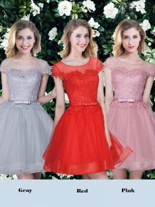 Red and Pink and Grey A-line Tulle Scoop Short Sleeves Appliques and Belt Mini Length Lace Up Court Dresses for Sweet 16
