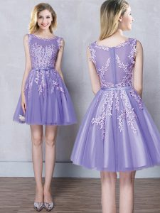 Modern A-line Quinceanera Court Dresses Lavender Scoop Tulle Sleeveless Mini Length Zipper