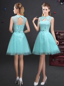 Eye-catching Aqua Blue Lace Up High-neck Lace and Appliques and Belt Dama Dress Tulle Sleeveless