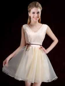 Captivating Organza Sleeveless Mini Length Dama Dress for Quinceanera and Lace and Appliques and Belt