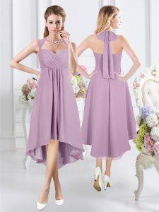 Eye-catching Halter Top Ruching Dama Dress for Quinceanera Lavender Zipper Sleeveless Knee Length