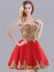 Red Sweetheart Neckline Appliques Court Dresses for Sweet 16 Sleeveless Lace Up