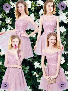Mini Length Lace Up Bridesmaid Gown Pink for Prom and Party and Wedding Party with Appliques and Belt