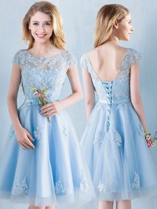 Luxury Light Blue A-line Tulle Scoop Short Sleeves Appliques and Bowknot Knee Length Lace Up Wedding Guest Dresses