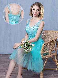 Fantastic Aqua Blue Empire V-neck Sleeveless Tulle Knee Length Lace Up Lace and Appliques and Bowknot Wedding Guest Dres