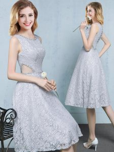 Scoop Beading Bridesmaids Dress Grey Lace Up Sleeveless Knee Length