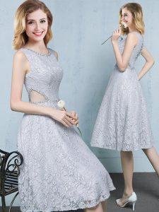 Scoop Beading Bridesmaids Dress Grey Lace Up Sleeveless Knee Length