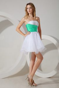 Romantic Organza Sleeveless Mini Length Quinceanera Court of Honor Dress and Beading