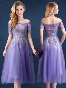 Flare Off The Shoulder Short Sleeves Dama Dress Tea Length Beading and Lace Lavender Tulle