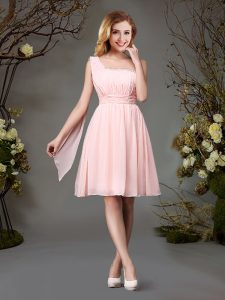Classical One Shoulder Pink Chiffon Zipper Wedding Party Dress Sleeveless Mini Length Beading and Ruching