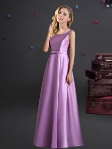 Fantastic Floor Length Lilac Damas Dress Square Sleeveless Zipper