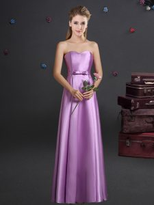 Extravagant Lilac Sweetheart Neckline Bowknot Dama Dress for Quinceanera Sleeveless Zipper
