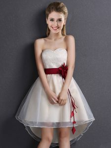 Lace and Hand Made Flower Bridesmaid Dresses Champagne Lace Up Sleeveless High Low
