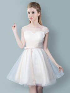 Great Champagne Tulle Zipper Straps Cap Sleeves Knee Length Quinceanera Dama Dress Ruching and Bowknot