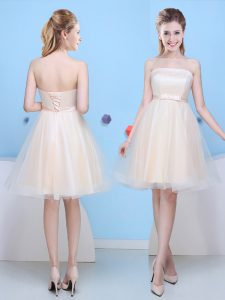 Extravagant Champagne Strapless Lace Up Bowknot Bridesmaid Dresses Sleeveless