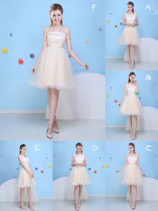 Custom Fit Champagne Strapless Lace Up Bowknot Wedding Guest Dresses Sleeveless