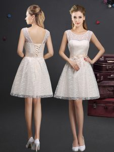 Delicate Scoop Champagne Lace Lace Up Wedding Party Dress Sleeveless Knee Length Lace and Appliques
