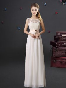 High End See Through White Scoop Neckline Lace and Appliques and Belt Quinceanera Court Dresses Sleeveless Lace Up
