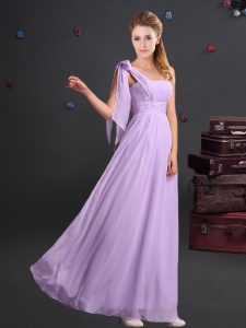 Custom Fit Empire Quinceanera Court Dresses Lavender One Shoulder Chiffon Sleeveless Floor Length Zipper