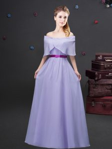 Glamorous Chiffon Off The Shoulder Half Sleeves Zipper Ruching and Belt Quinceanera Dama Dress in Lavender