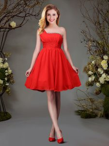 Custom Designed Red Wedding Party Dress Prom and Party and Wedding Party and For with Beading and Ruching One Shoulder S