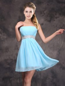 Great Sequins Mini Length Empire Sleeveless Baby Blue Quinceanera Dama Dress Zipper
