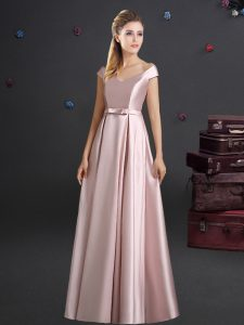 Glamorous Elastic Woven Satin Off The Shoulder Cap Sleeves Zipper Bowknot Damas Dress in Pink