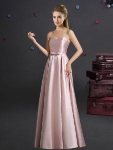 Amazing Floor Length Pink Wedding Party Dress Elastic Woven Satin Sleeveless Bowknot