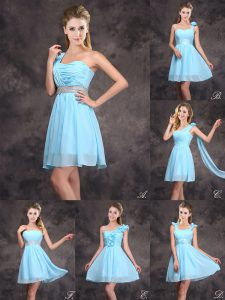 Sequins Empire Bridesmaids Dress Baby Blue Chiffon Sleeveless Mini Length Zipper